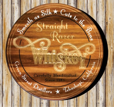 Personalized with Light Brown Stain, V-Carved and Flat Carved natural and Painted Lettering.